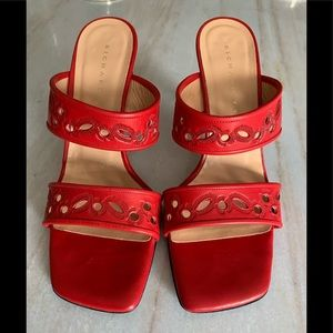 Richard Tyler Red Leather Sandal Heels